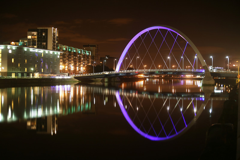 """The """"Squinty"""" bridge on the River Clyde in Glasgow.<br /> 03-10-2010"""