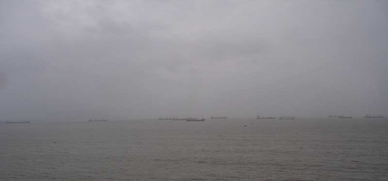 Arabian Sea boat traffic.