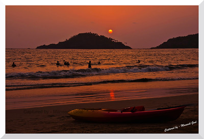 Time over, until the sun rises again! - Palolem Beach at Sunset time (Kankon island in the background)