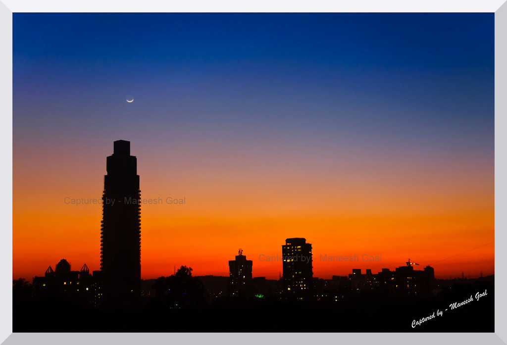 As the sun sets & the crescent moon appears...<br /> <br /> Photographing the same place again & again on different days, in different seasons and different time of day can also be quite a rewarding experience.... as I am discovering :-)