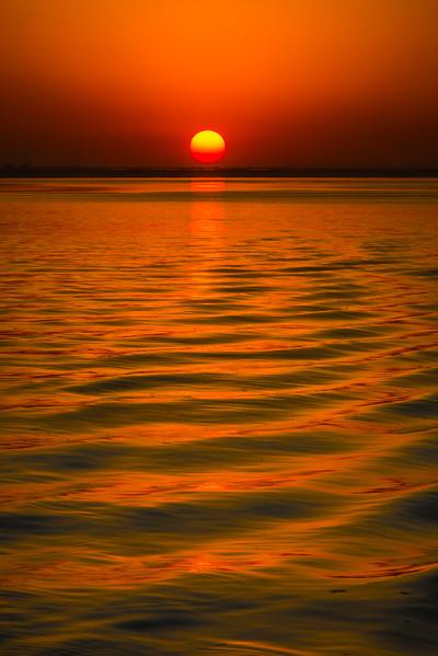 Sunset Red Explosion On The River Kaziranga National Park, Assam, North-Eastern India