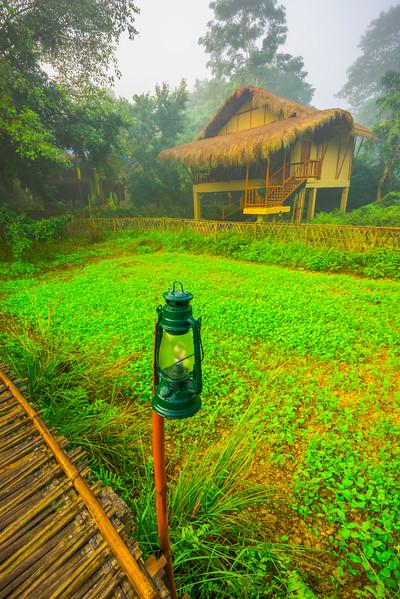 Morning Light On The Safari Huts Kaziranga National Park, Assam, North-Eastern India