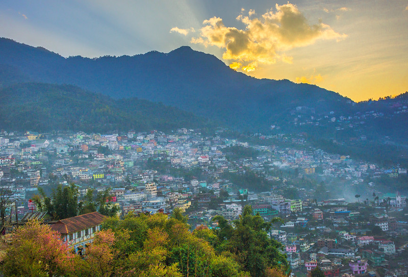 Fall Colors Surround Valley Of Hills In India - Kohima, North-Eastern India