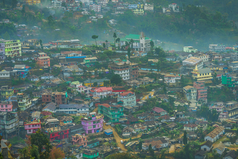Houses Line Up The Hillsides Of Kohima - Kohima, North-Eastern India