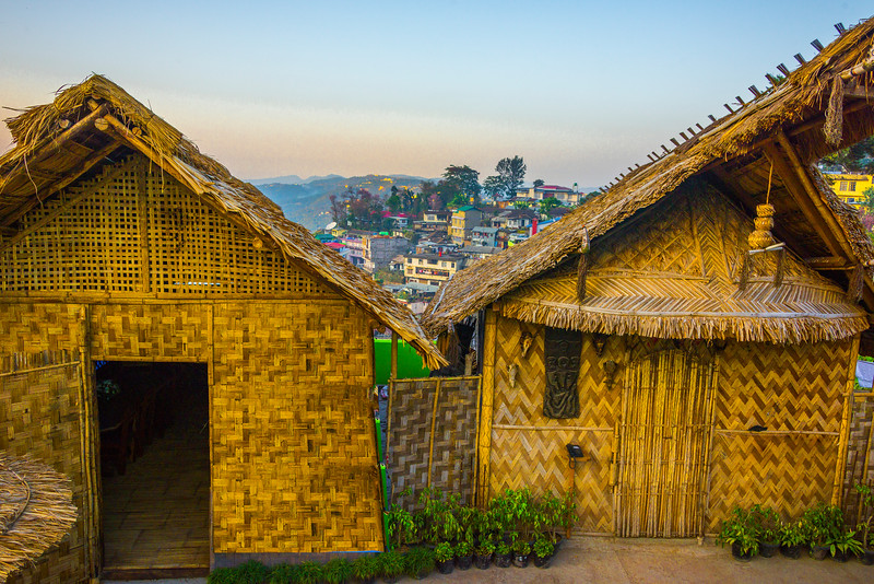 Overlooking The Town With Traditional Homes - Kohima, North-Eastern India