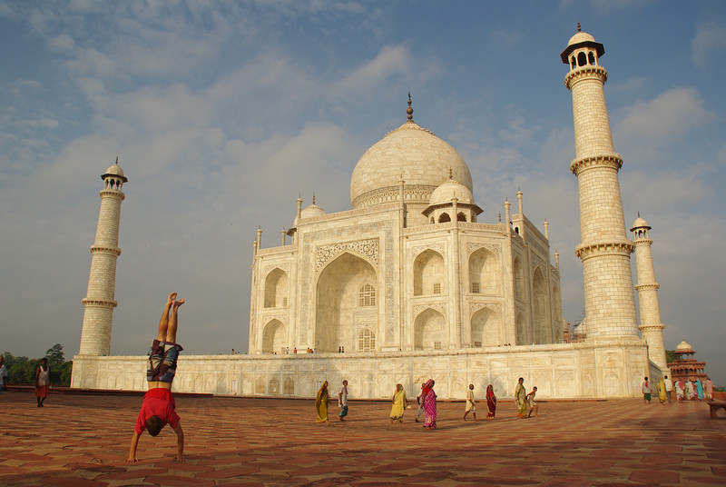 Handstand just in front of the Taj