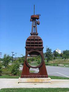 The sculpture at the PSNH office is a valve from the old generating station