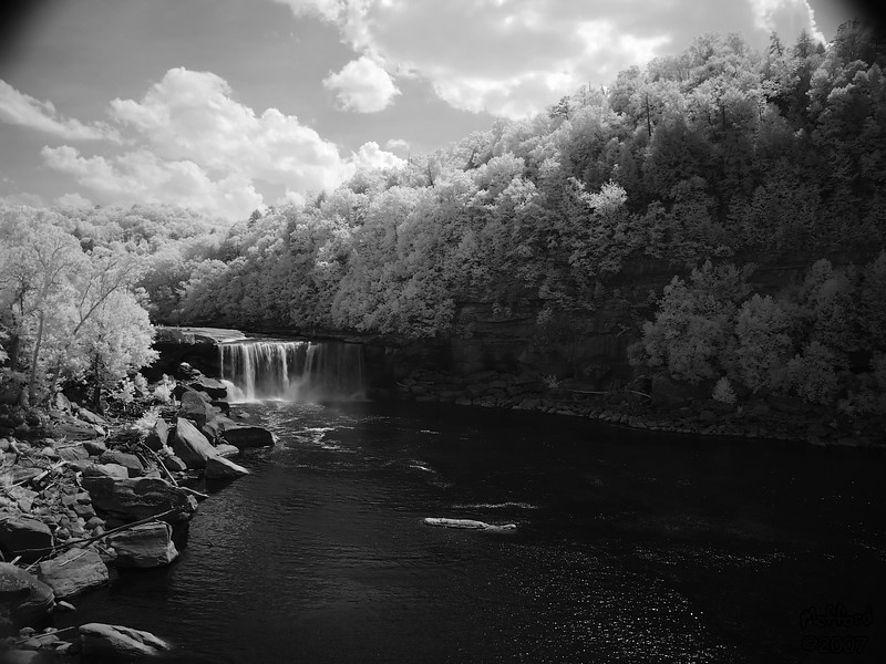 8 June 2007.  Infrared shot of Cumberland Falls, McCreary/ Whitley County, KY.  The corners are darkened from the IR filter blocking edge of the lens.