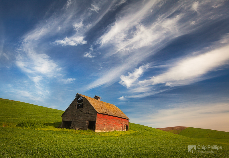 """""""Red Barn, Palouse""""  A little red barn in early morning light in the Palouse"""
