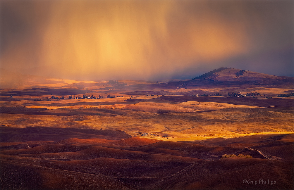"""""""Fall Storm-Palouse""""  A quickly moving storm during fall in the Palouse."""