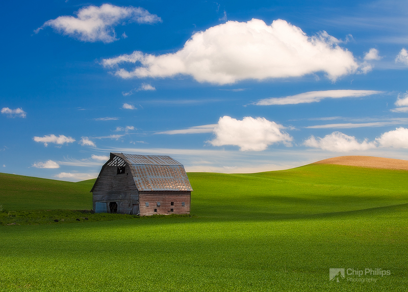 """""""Spring Barn Palouse""""  This barn will soon be gone.  I was happy to be able to showcase it in a setting with blue sky and puffy white clouds. Shot in the Palouse region of Washington State."""