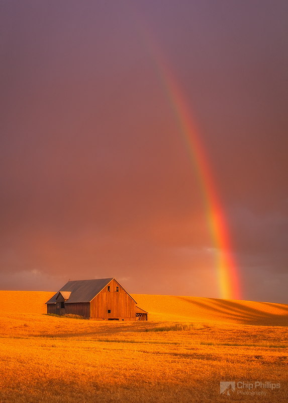 """Barn and Rainbow, Palouse""  Stormy skies over the Palouse created this fantastic rainbow right next to a favorite barn of mine."