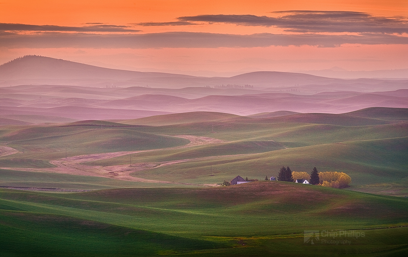 """Palouse Sunrise""  A farmhouse nestled in the Palouse Hills of Washington State at sunrise"