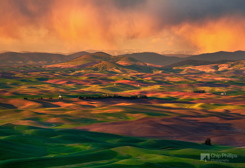 """""""Palouse Storm""""  A stormy evening in the Palouse at sunset."""