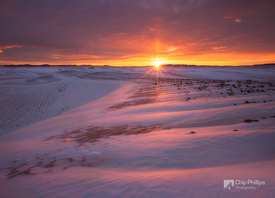 """""""Winter Morning, Palouse""""  I shot this image at sunrise while snow shoeing up on Steptoe Butte in the Palouse region of Washington State,  just after a heavy snow storm.  Definitely one of the most spectacular sunrises I have witnessed."""