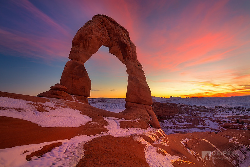 """Arch Sunset""  Delicate Arch in Arches National Park, Utah at sunset."