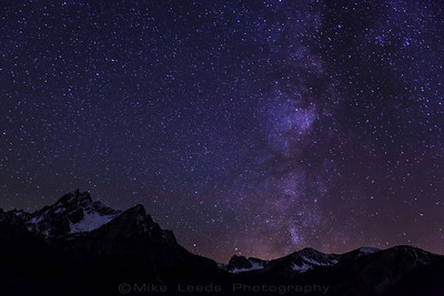 Mt. McGowan underneath a starry sky and the Milky Way in the Sawtooth Mountains, Idaho.