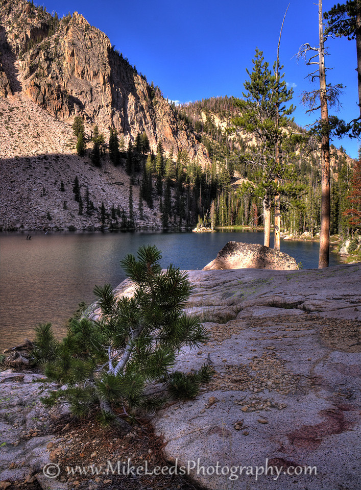 Un-named lake below the Finger of Fate in the Sawtooth Mountains, Idaho. HDR