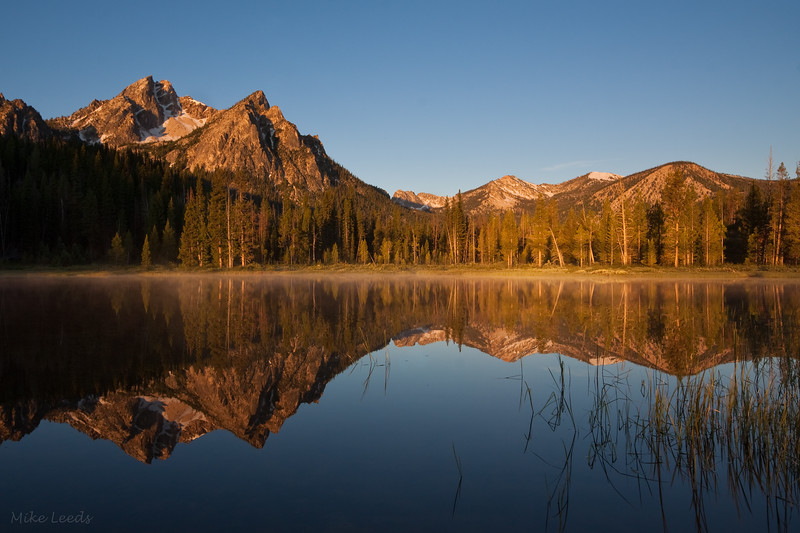 Stanley Lake on clear July morning. Sawtooth Mountains, Idaho.