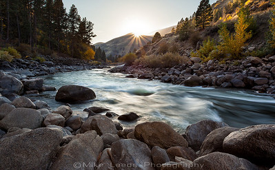 Main Payette River in Idaho on an October evening