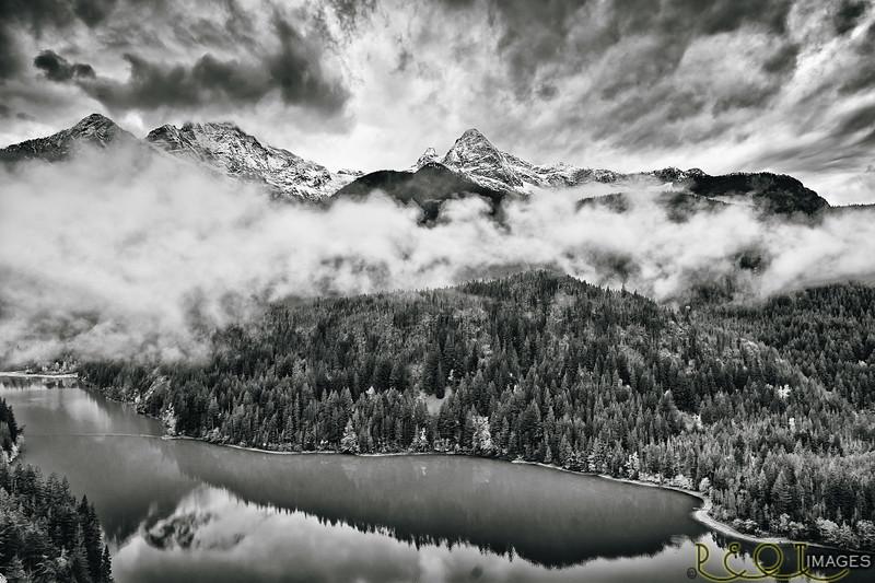 Pinnacle Peak over Diablo Lake B&W