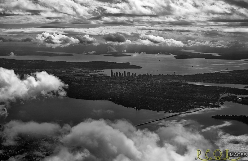 Seattle B&W from air SW view