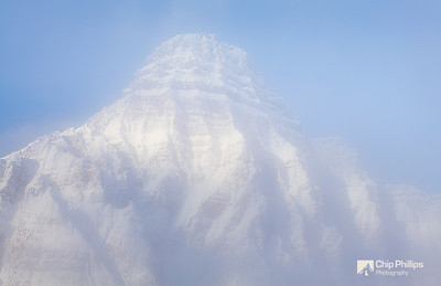 """Mount Chephron Mist""  Mount Chephron emerging from the mist reminded me of a Monet painting.  Banff National Park, Alberta"