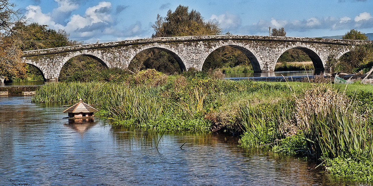 Goose House Bridge  A goose house floats along the reeds under a stone bridge Tipperary, Ireland