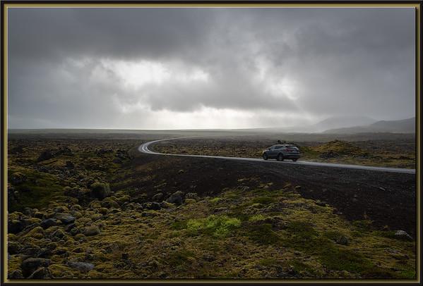Road through lava fields