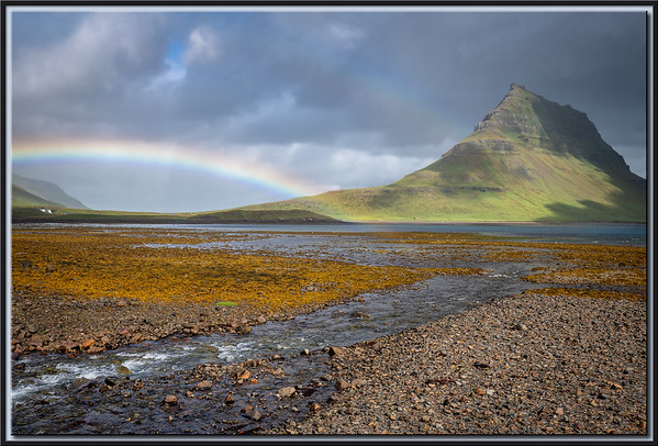 Mountain Kirkjufell with Rainbow