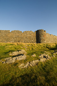 Peel Castle on the west coast of the Isle of Man at Sunset