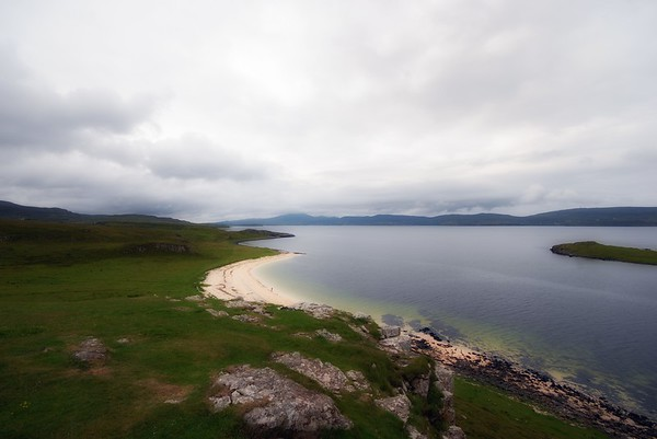 Coral beaches from the summit of Cnoc More a' Ghrobain, looking south down Loch Dunvegan.
