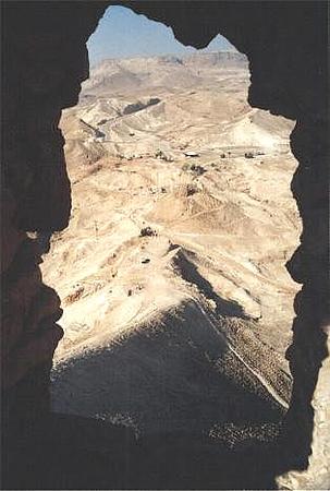 Israel. Remains of Roman siege ramp. viewed through a window.