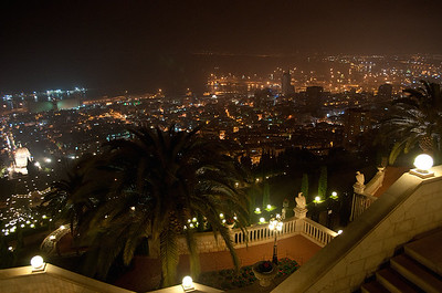 Bahai Shrine and Gardens at night, Haifa, Israel