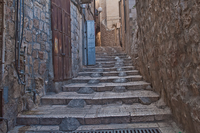 The narrow street in the Old City of Jerusalem