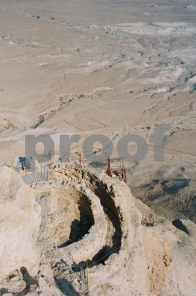 Masada, Israel. Remains of grain silo.