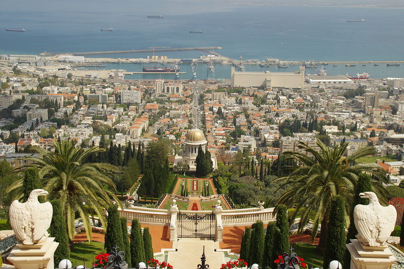The view from Bahia Gardens to the city of Haifa