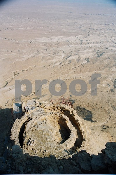 Masada, Israel. Remains of grain silo.