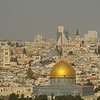 View to the center of Jerusalem with the Dome of the Rock and the Church of the Holy Sepulcher
