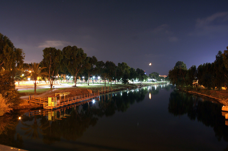 Along the Yarkon River at night, Tel Aviv