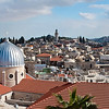 The roofs of the old city of Jerusalem with the Dome of the Rock in the background.