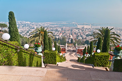 Bahai gardens and temple on the slopes of the Carmel Mountain, Haifa, Israel