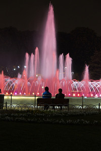 Fountain at night in Sultan-Ahmet Square