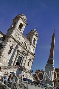 Trinità dei Monti Church at top of Spanish Steps in Rome.