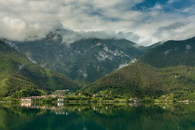 Distant Mezzolago on lake Ledro