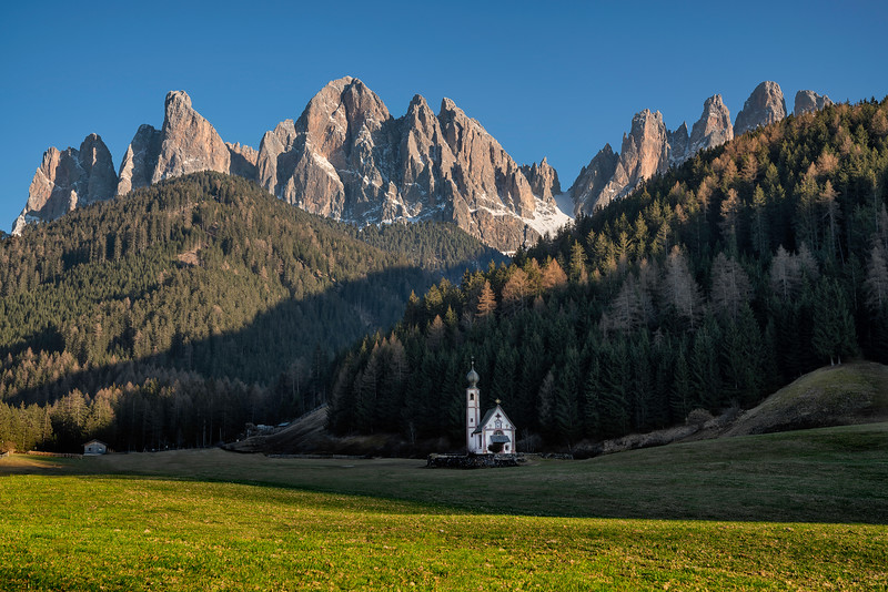 St. Johann Chapel in the Dolomites, North Italy.