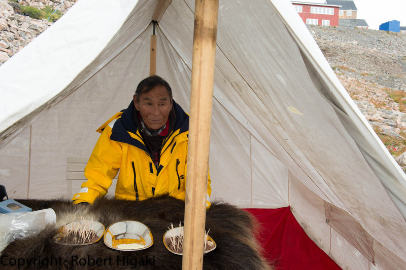 He gave out free samples of Musk Ox meat. I could not understand him but he showed me that I need to dip the meat in the powder. I did not want to dis-respect him so I dipped the meat even though I had no idea what powder was. I like to know what I put in my mouth.