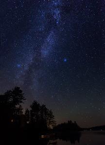 Milky Way & Perseid Meteor, Jacks Lake, Ontario, Canada.