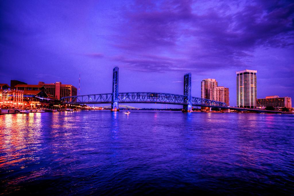 Photo taken at night on the St. John's River in Jacksonville, Florida near the Jacksonville Landing.