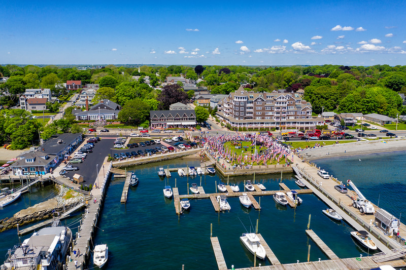 Memorial Day 2019, Jamestown, Rhode Island,  waterfront, marina, flags, celebration, flags, crowd, people, military